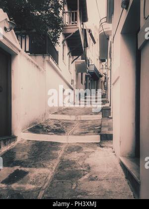 Stepped ally in Skopelos,Greece - Stock Photo