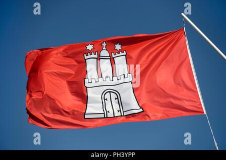 Flag of the Hanseatic city of Hamburg, Germany - Stock Photo