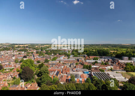 The medieval cathedral city of Salisbury in Wiltshire, UK, seen from above during a beautifully clear day in summer. - Stock Photo