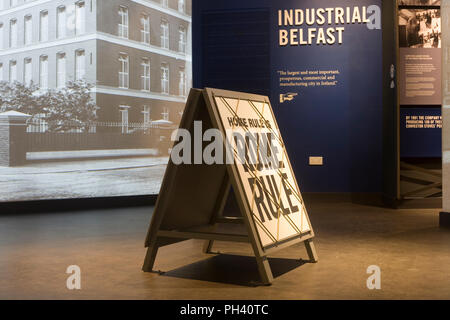 Sign suggesting that home rule (from Dublin) would equate to rule from Rome in Belfast history section of Titanic exhibition - Stock Photo