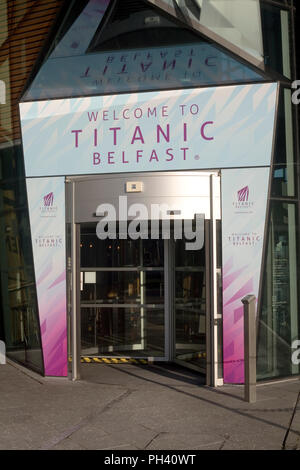 Main entrance to Titanic exhibition on Olympic way in Titanic quarter of Belfast - Stock Photo