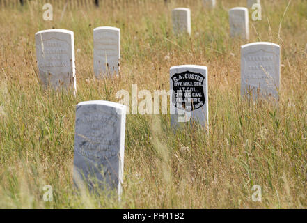 Marker stones for General Custer and soldiers killed at the Little Bighorn Battlefield National Monument, Hardin, Montana, USA - Stock Photo