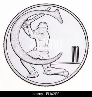 British 10p coin (reverse) from 2018 'Alphabet' series, celebrating Britishness. C - cricket - Stock Photo