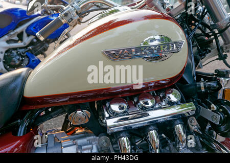 Close-up of a Honda Valkyrie F6 cruiser motorcycle gas tank and flathead six engine - Stock Photo