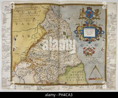 Lord Burghley's Atlas - 'Engraved map of Northumberland, from drawings of Christopher Saxton. Dedicated to Queen Elizabeth I. With annotations in the hand of Lord Burghley.' . - Stock Photo