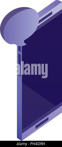 smartphone device with speech bubble isometric icon - Stock Photo