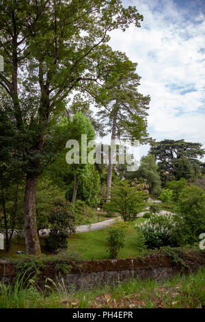 A view on the botanical garden of Lucca (Tuscany - Italy). It is a beautiful green and in flower area at the foot of the ramparts, - Stock Photo