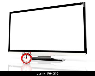 LED tv and alarm clock on white background. 3D rendering - Stock Photo