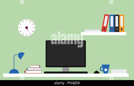 Flat design office illustration with white desk, computer with monitor, lamp and tea pot, shelf with files and books. Green wall with clock. - vector - Stock Photo