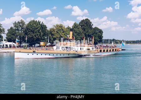 Herreninsel - AUG 2013 - GERMANY - Tourist boat on the Chiemsee lake - Herrenchiemsee. - Stock Photo