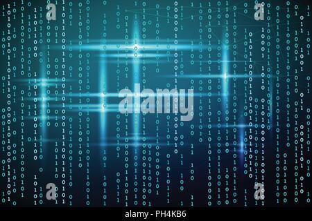 Abstract matrix background. Vector illustration. Virtual design technology. Blue glow - Stock Photo