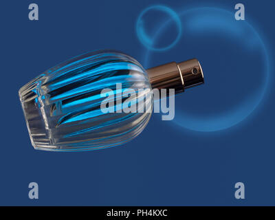 Beautiful glass perfume bottle, generic, on blue with bubbles. - Stock Photo