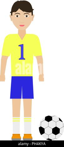 Vector illustration of a boy soccer player - Stock Photo