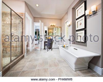 White and grey bathroom - Stock Photo