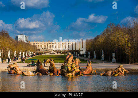 Fountain of Apollo at the garden of the Versailles Palace in a freezing winter day just before spring - Stock Photo