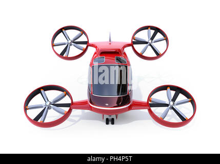 Self driving Passenger Drone isolated on white background. 3D rendering image. - Stock Photo