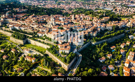 Città Alta or Upper Town, old walled city of Bergamo, Italy - Stock Photo