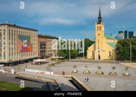 View of Freedom Square in the center of Tallinn with St John's Lutheran Church sited to the right, Estonia. - Stock Photo