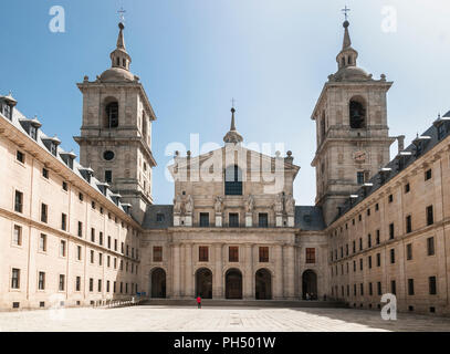 The Patio de los Reyes, Courtyard of the Kings, and facade of the Basilica in the Monastery of San Lorenzo de El Escorial, Comunidad de Madrid, Spain. - Stock Photo