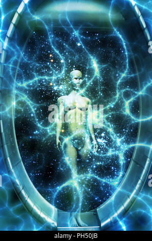 female humanoid in an energy field inside a time capsule - Stock Photo