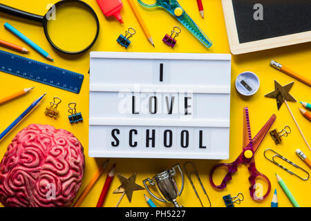 b76016f580 I love school lightbox message on a bright yellow background - Stock Photo