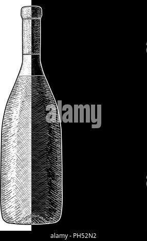 Bottle of wine. Hand drawn sketch - Stock Photo