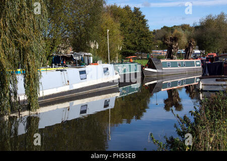 Canal boats moored on River Stort, Sawbridgeworth, some for refurbishment. others moored in the excellent sunshine - Stock Photo