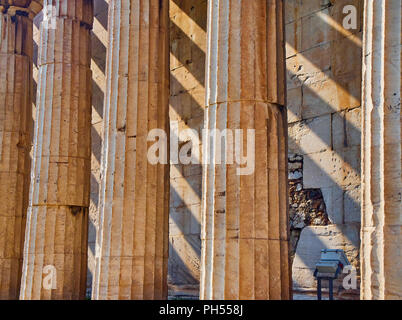 Doric columns detail of the Temple of Hephaestus. Ancient Greek place of worship located at the northwest side of the Agora of Athens. Attica region,  - Stock Photo