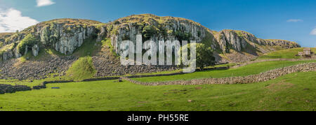 North Pennines AONB panoramic landscape, Holwick Scar, Teesdale, County Durham, UK - Stock Photo