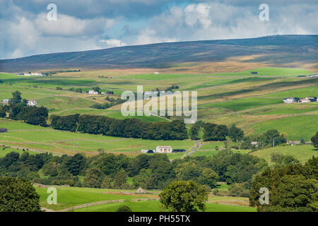 North Pennines AONB landscape, looking north west over Teesdale into Ettersgill from Holwick, Upper Teesdale, County Durham, UK - Stock Photo