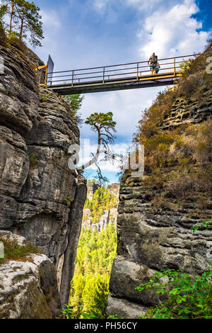 The Elbe Sandstone Mountains  is part of the Saxon Switzerland National Park in Germany - Stock Photo
