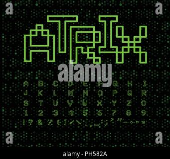 Matrix font, geometrical lines. Green digital letters on black cyberspace background. Electronic retro game alphabet. - Stock Photo