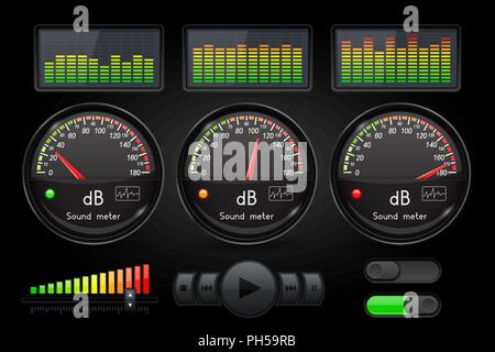 Decibel sound meter with equalizer and buttons. Black user interface - Stock Photo