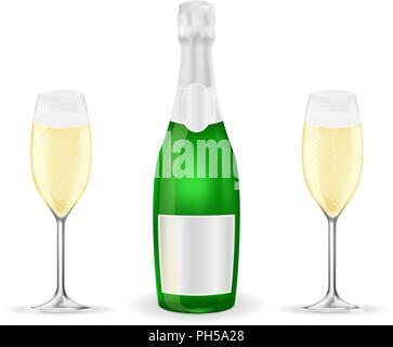 Bottle and two glasses of sparkling wine or champagne - Stock Photo