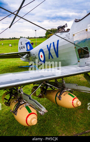 Hawker Hind K5414 biplane with two seats, a machine gun and bombs - Stock Photo
