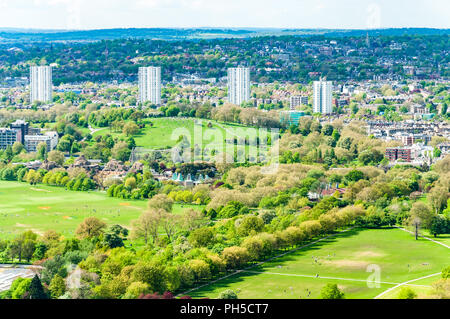 Regent's Park and London Zoo - aerial shot from the BT Tower - Stock Photo