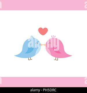 two cute birds are kissing cartoon vector illustration EPS10 - Stock Photo