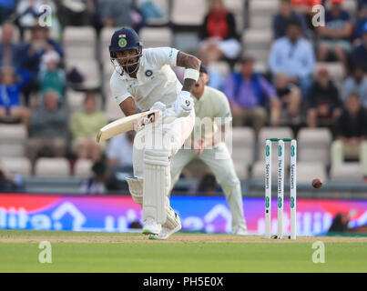 India's KL Rahul hits the ball away during the fourth test at the AGEAS Bowl, Southampton. - Stock Photo