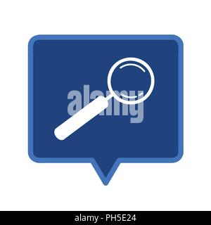 magnifying glass searching blue speach bubble vector illustration - Stock Photo