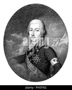 Louis Antoine Henry of Bourbon, Duke of Enghien. After the painting by Billiers Huet, engraved by A. Cardon,   1899 - Stock Photo