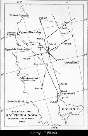 Tracks Of The Terra Nova 1910 1913 1913 Map Showing Routes Of