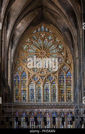 14th century rose window in the French Gothic Cathedral of Saint Stephen of Metz / Cathédrale Saint-Étienne de Metz, Moselle, Lorraine, France - Stock Photo