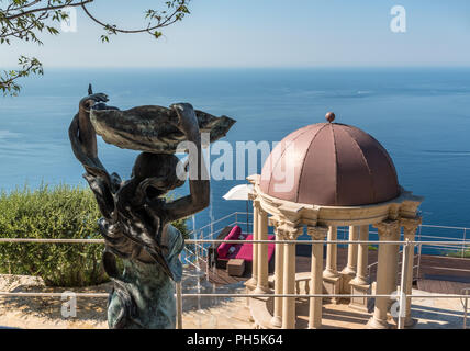 View from Château de la Chèvre d'Or over the Mediterranean - Stock Photo
