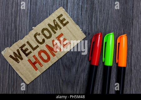 Word writing text Welcome Home. Business concept for Expression Greetings New Owners Domicile Doormat Entry Paperboard Important reminder Communicate  - Stock Photo
