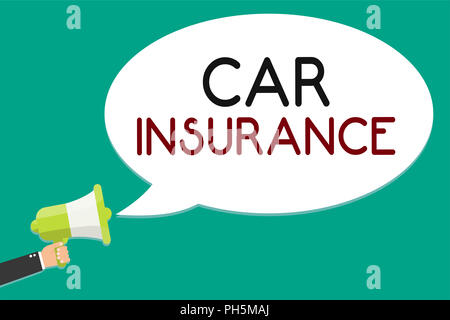 Handwriting text writing Car Insurance. Concept meaning Accidents coverage Comprehensive Policy Motor Vehicle Guaranty Man holding megaphone loudspeak - Stock Photo