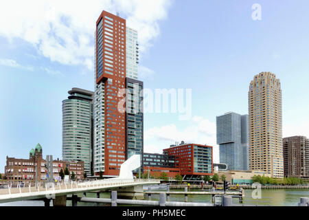ROTTERDAM, HOLLAND-AUGUST 30, 2018. Hotel New York, Montevideo tower and world Port at Kop van Zuid, a relatively new area on the south bank of the Ma - Stock Photo