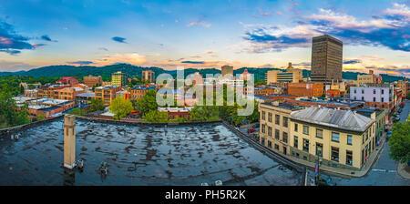Downtown Asheville, North Carolina, USA Skyline Panorama at Sunrise. - Stock Photo