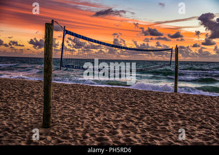 Beach Volleyball Court in Fort Lauderdale, Florida, USA - Stock Photo