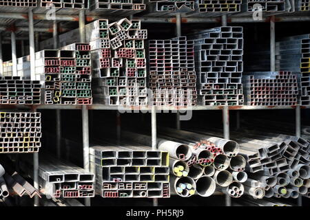 Metal rods and tubes at wholesalers in Ha Tinh, Vietnam - Stock Photo