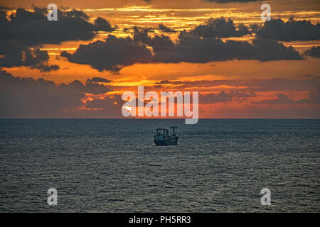 Oil Tanker near Port Everglades in Fort Lauderdale, Florida, USA at sunrise. - Stock Photo